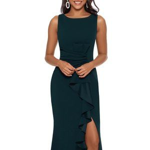 Betsy & Adam Ruffle-Detail Gown Pine Size 6